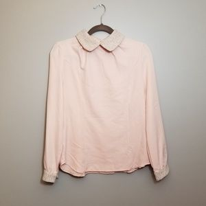Vintage Peter Pan Collar pink long sleeve blouse